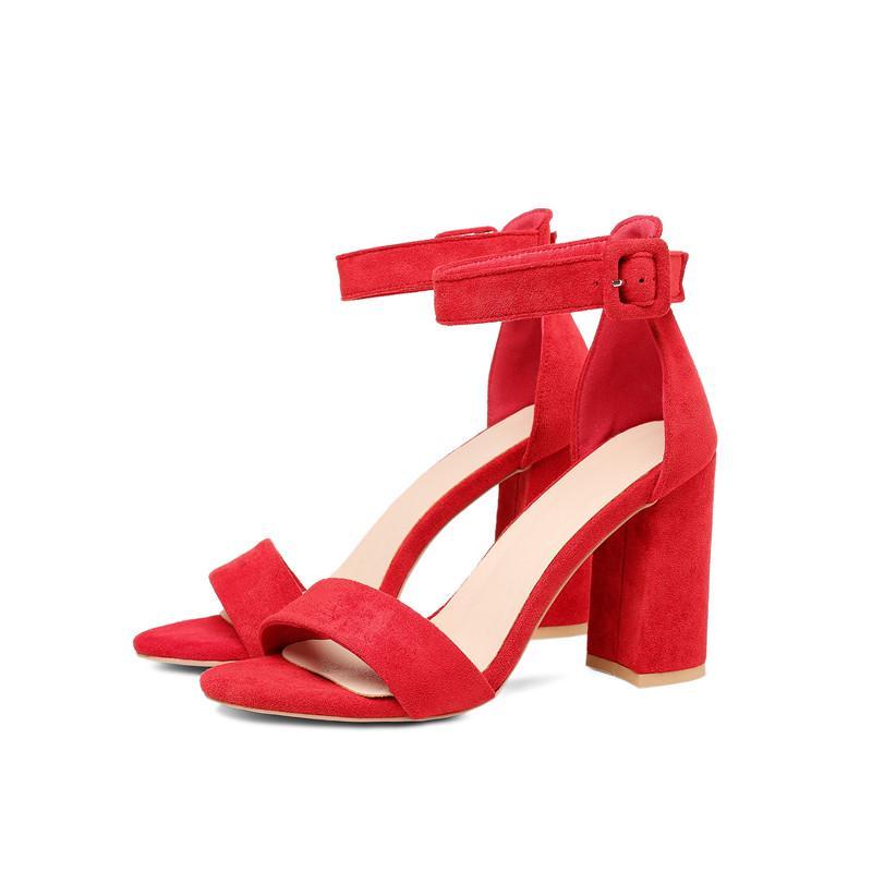 Women Shoes Summer Sandals Thick Ankle Strap Sandalias De Las Mujeres 2020 Fashion Sandal Female Party Shoes High Heels Peep Toe
