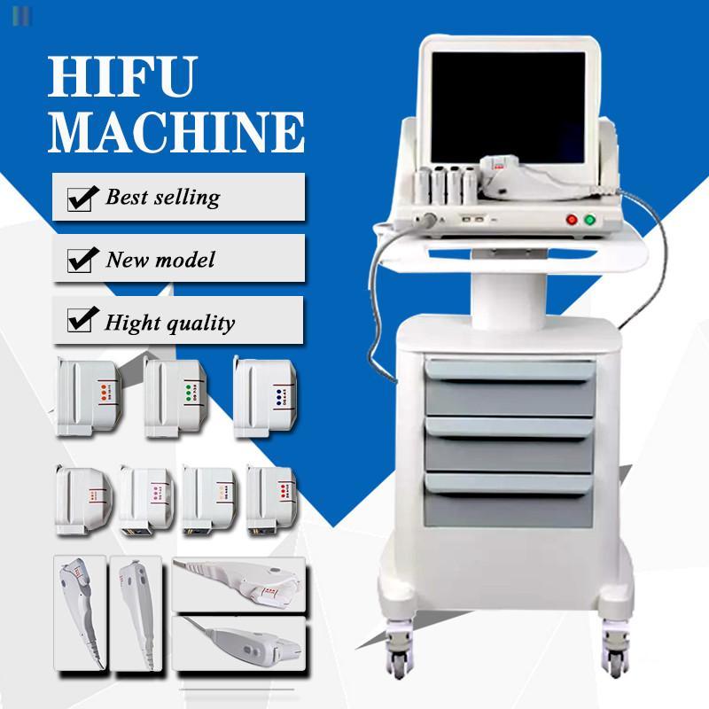 Taşınabilir HIFU Yüz Germe Cilt Bakımı Yüksek Yoğunluklu Odaklı Ultrason Makinesi 3 ve 5 HIFU Kartuşları Ev ve Salon Kullanımı için