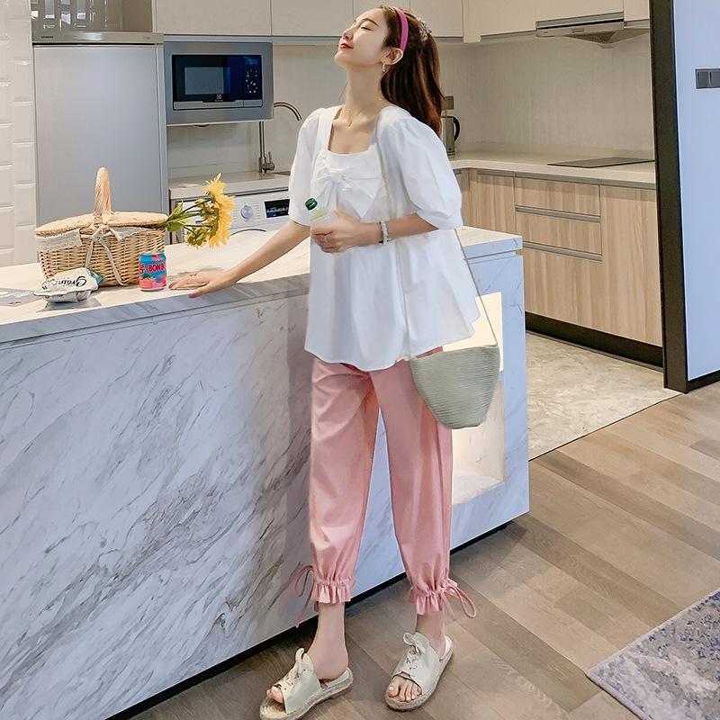 abbigliamento nuova camicia bianca quadrato del collare del tFvEW op2Dt donne incinte arco di maternità 2020 di estate pantaloni di vita abito coreano stile high top campana