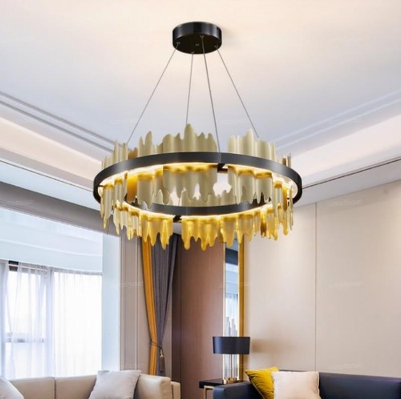 New Modern LED Chandelier Pendant Lamps Lighting Round Copper Hanging Lamp for Living Room Luxury Home Decor Black/Gold Lights Fixture