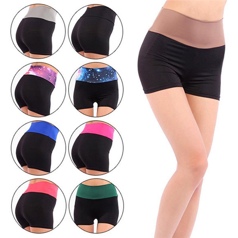 Mujeres pantalón corto de entrenamiento de yoga fitness femenino Correr Deporte pantalones cortos de algodón de cintura alta ciclo de la gimnasia del cortocircuito del deporte