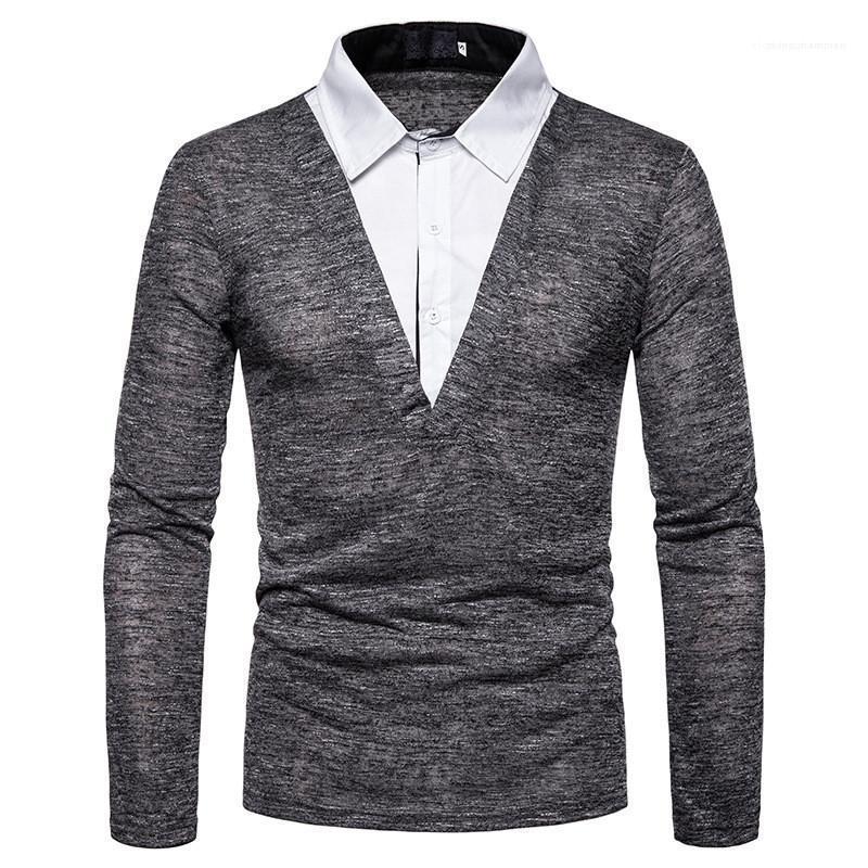 Mode en vrac faux deux pièces pour hommes T-shirts occasionnels hommes Lapel Neck Vêtements lambrissé Hommes Polos Designer