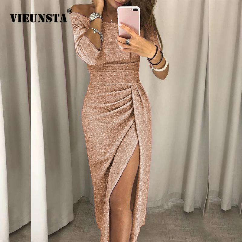 Сексуальное платье для платья на плеч для женщин с высокой щельюмами для купюрное платье для тела осенью три четверти рукав яркий шелковый блестящий кг-1007