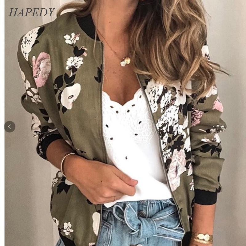 Imprimir HAPEDY floral de la moda retro de las mujeres ocasionales de la chaqueta cremallera hasta Bombardero señoras chaqueta informal Outwear otoño abrigos Mujeres Clothin