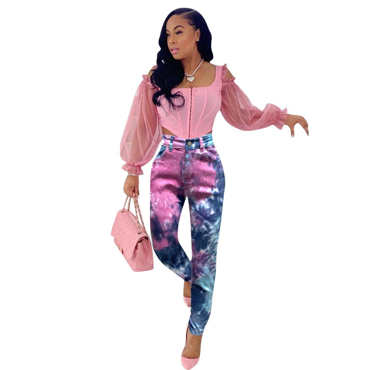 Fashion Tie-Dye Jeans per donna stampa pantaloni in denim 2020 autunno streetwear donne lavaggio leggero lavata ad alta vita pantaloni a matita jeans casual