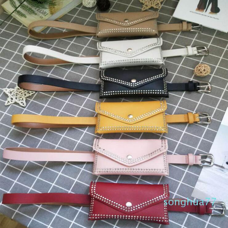 Fashion Women Rivet Belt Bags Solid Color Rivet Shoulder Waist Bags Women PU Leather Fanny Packs Casual Purse Wallet Chest Belt Bag