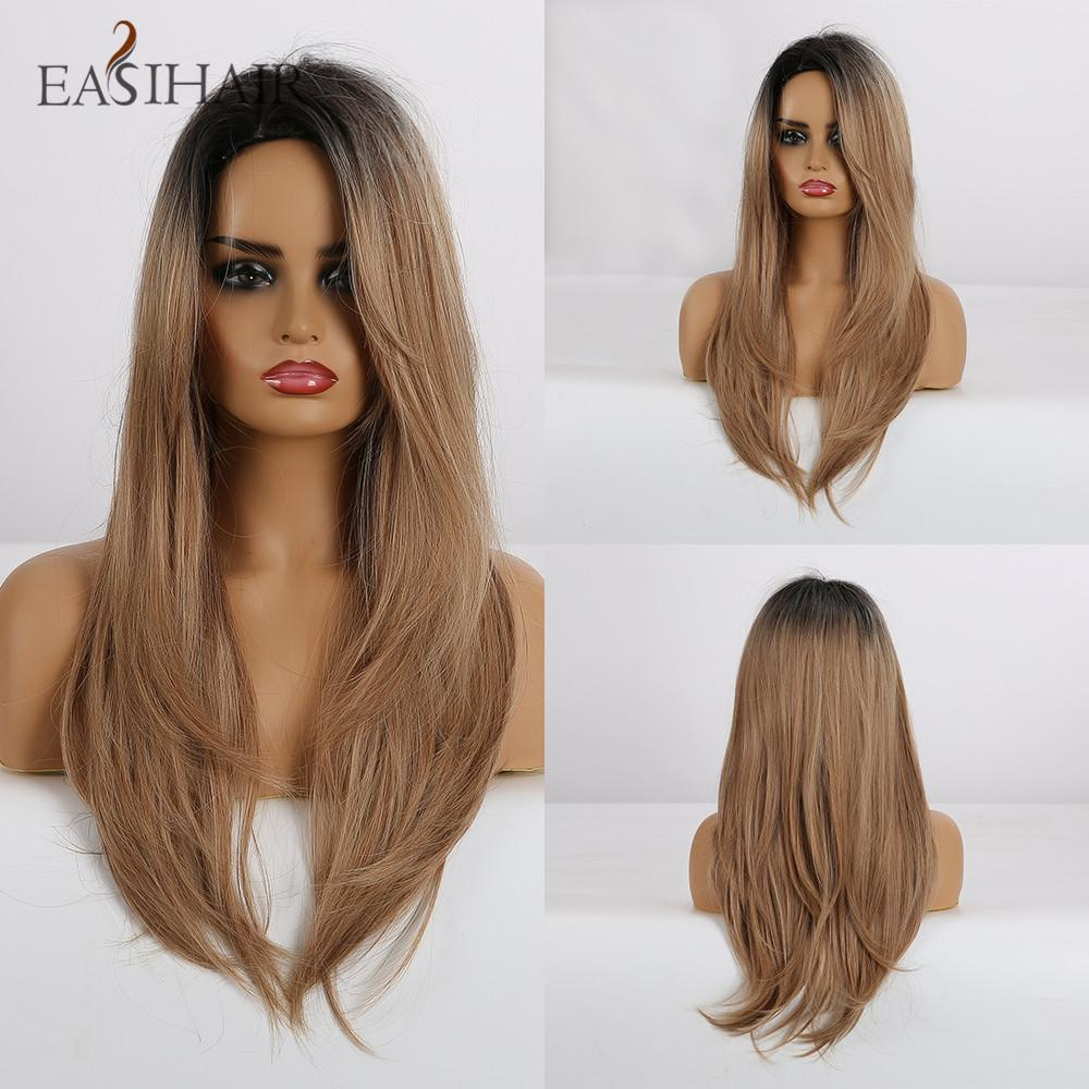 qualityLong Straight Black to Brown Ombre Wigs with Side Bangs Synthetic Wigs for Women Natural Cosplay Wigs Heat Resistant