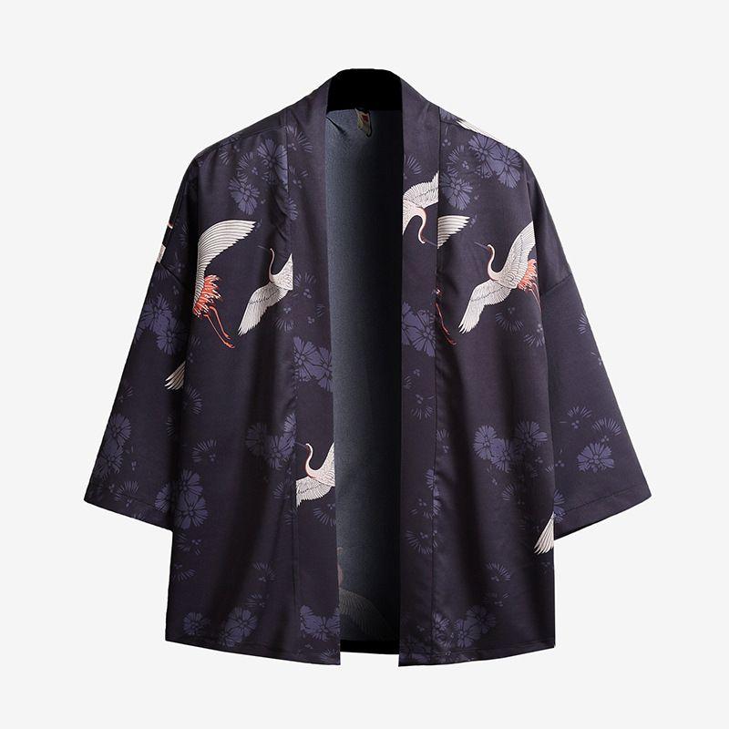 Giapponese Kimono Style Uomini Cardigan mezze maniche anteriore aperto Mantello del cappotto del rivestimento