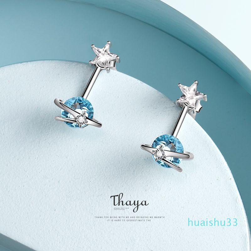 Hot Sale Thaya Fantasy Jewelry Design Earring 925 Silver Bohemia Blue Zircon Earring for Women Special Design Fashion Jewelry