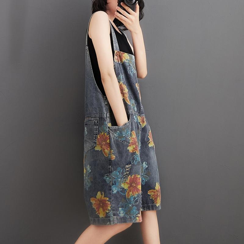 neOBL 2020 лето нового большого размера случайного печатные женщин похудение джинсовой подвязки и девять девять Strappy брюки щиколоток возрастного сокращения Weste