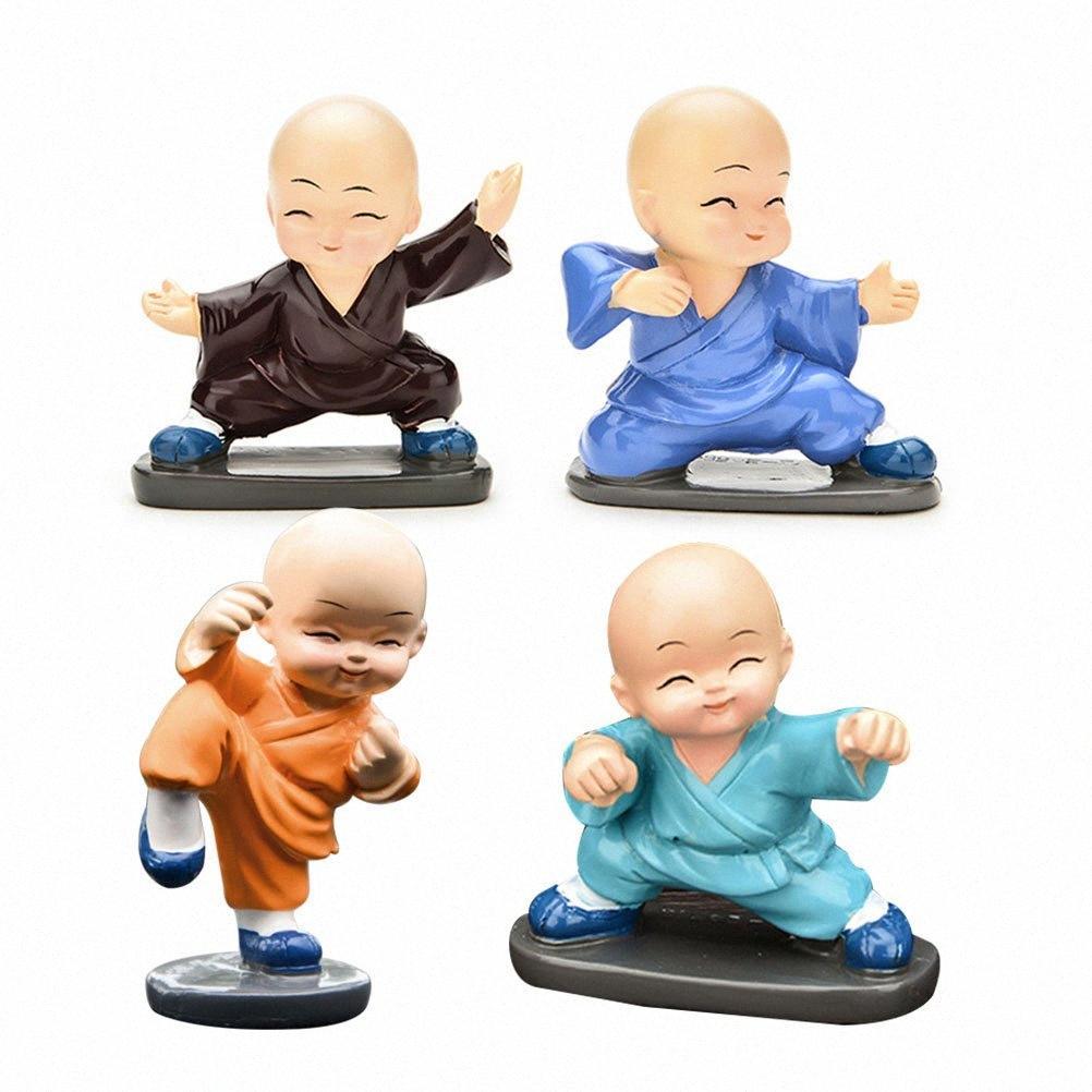 4pcs Entzückende bunte nette Maitreya Buddha Traditionelle Harz KongFu Mönch für Auto Office Home A30 t4tF #