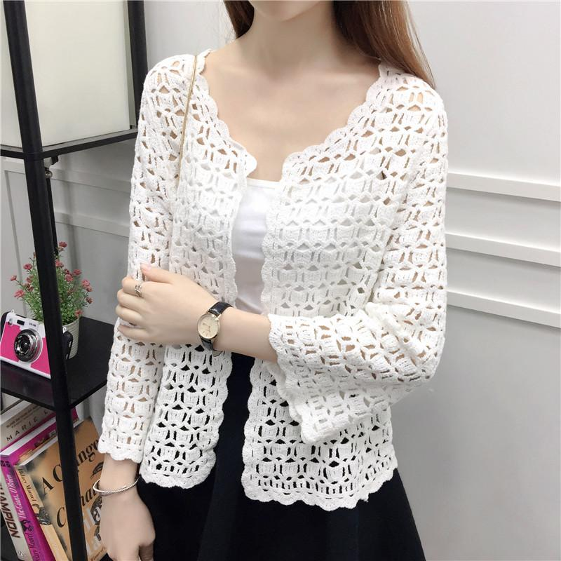 Lace Shirts 2020 Spring Summer Crochet White Lace Blouse Women Fashion Tops Sexy Hollow Out Knitted Cardigan Chemise Femme 32J3 Y200827