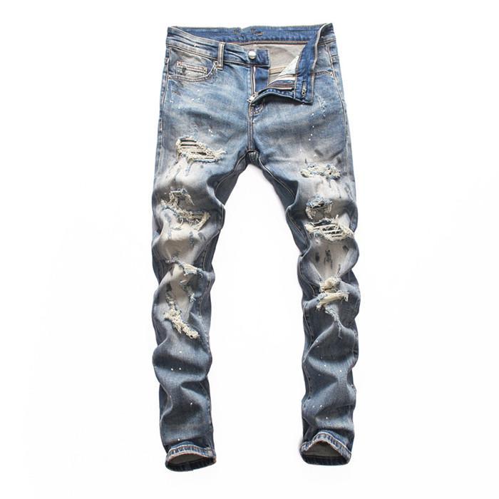 2020 calças de brim dos homens de luxo buracos de moda de alta qualidade calças de brim magros designer de jeans slim homens famoso designer motocicleta equitação terno