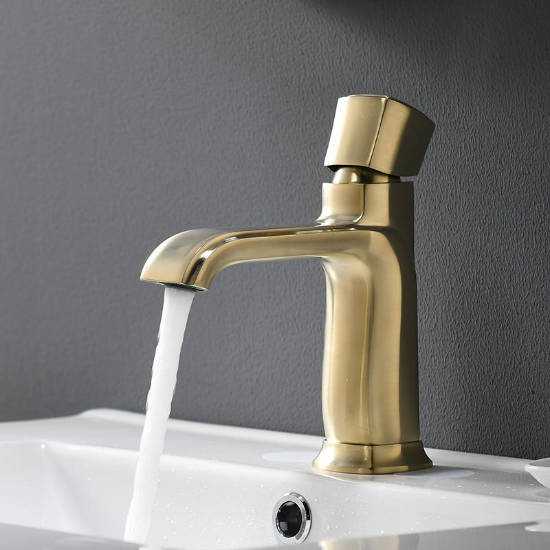 Bassin robinet mélangeur bain robinet d'évier brosse en laiton d'or mitigeur trou de bain Robinet Grifo Lavabo lavage à chaud et à froid