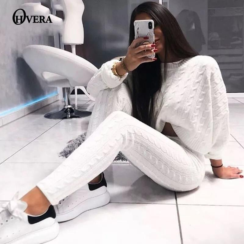 Ohvera Вязаные 2 шт Набор Tops Crop женщин с длинным рукавом и длинные брюки Sexy Зимний свитер Два Piece Set Эпикировка T200812