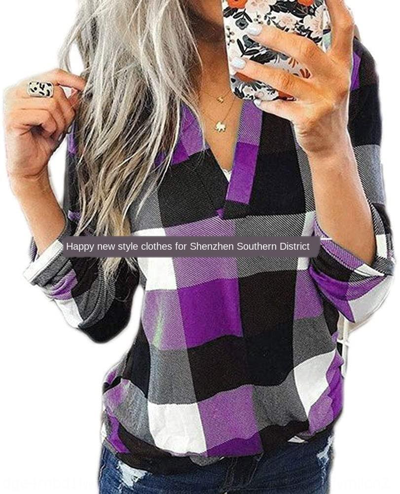 1HEIb 2020 моды V-образным вырезом плед с длинными рукавами (6-цветный 6-размер плотной ткани) 2020 моды V-образным вырезом плед с длинными рукавами t- (6-6-цветной размер толщиной