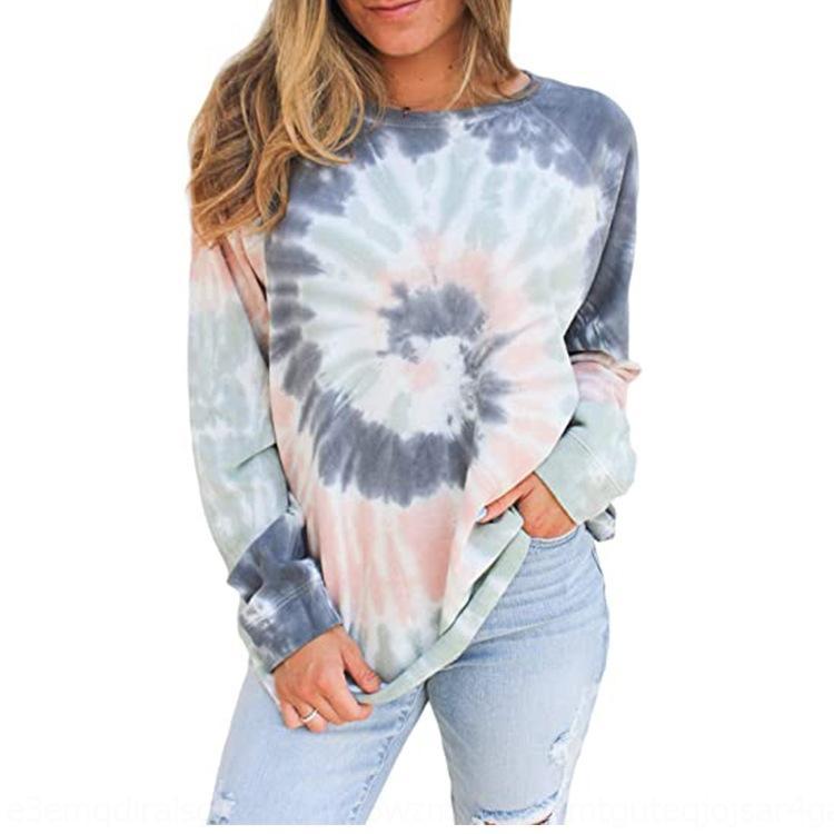 gwRNi f0z8Y 2020 top da donna tie-dyed maglione stampato intorno Pullover superiore maglia a manica lunga collo pullover allentato