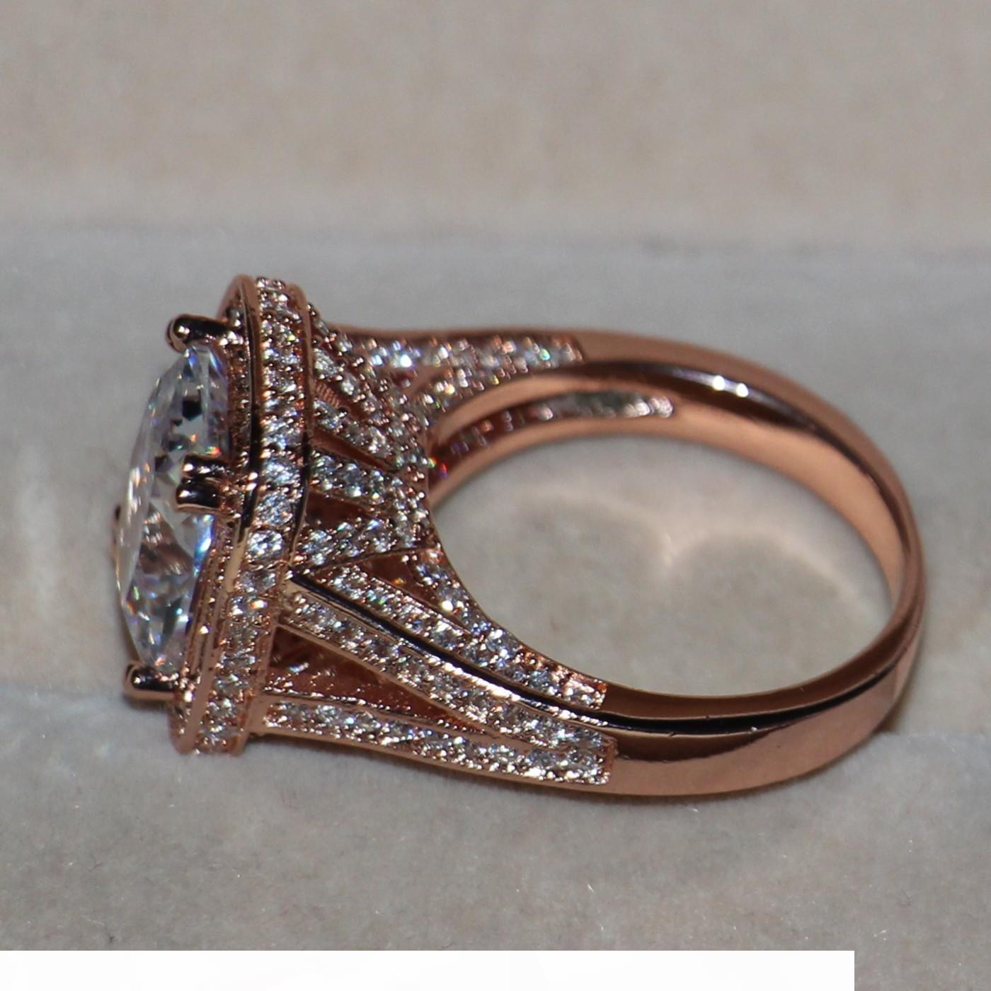 Victoria Wieck joyería de lujo 10ct topacio 192pcs Tiny plata esterlina CZ 925 Rose pavimentan el diamante simulado de boda anillo de la venda mujeres de tamaño 5-11