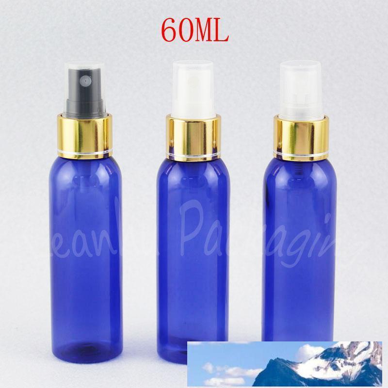 60ML синий круглый плеча пластиковые бутылки с золотой спрей насос, 60cc Пустой косметический контейнер, Toner / Вода Sub-розлив