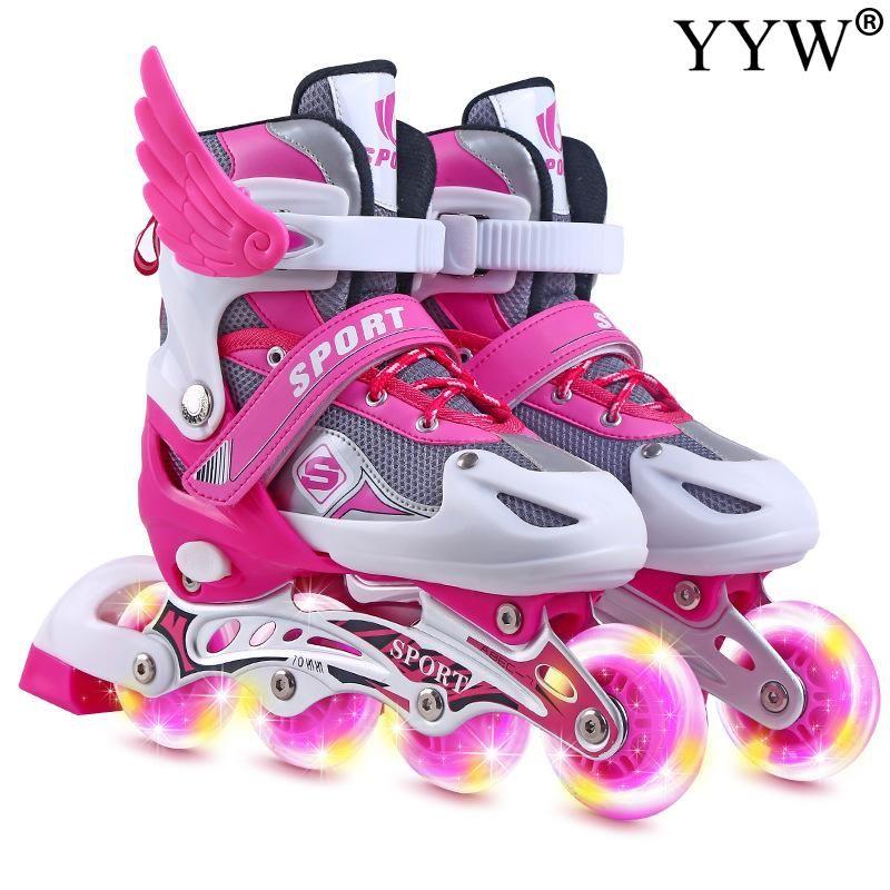 Inline ролики коньки мальчик девушка флэш-ботинки колеса skatesinline детей регулируемые