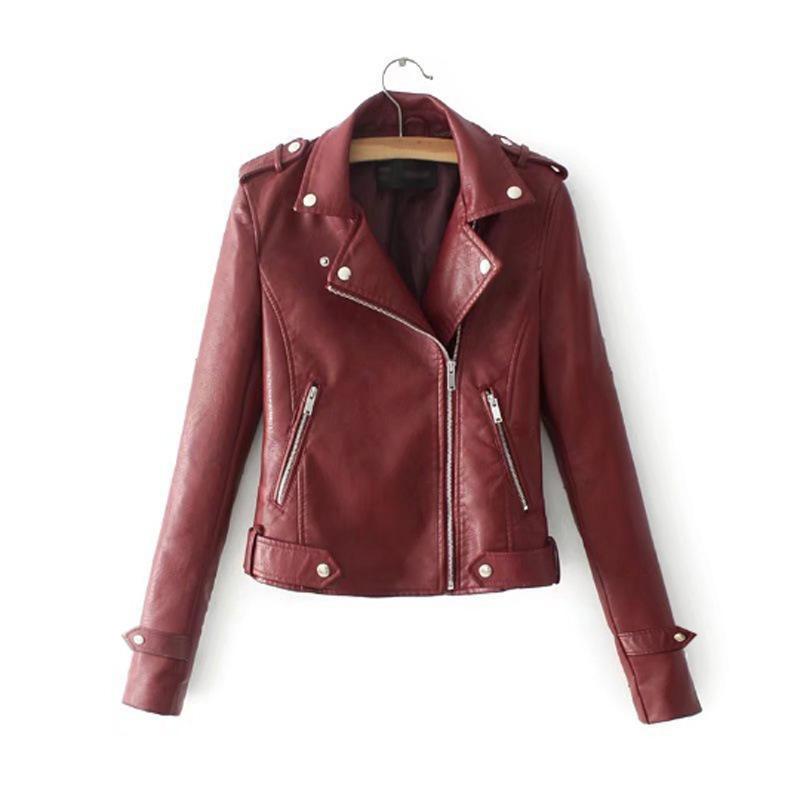 Осень и зима женская искусственная кожа куртка моды молния дамы дамы длинным рукавом осенью и зимой случайный бомбардировщик мотоцикл круто JACKE