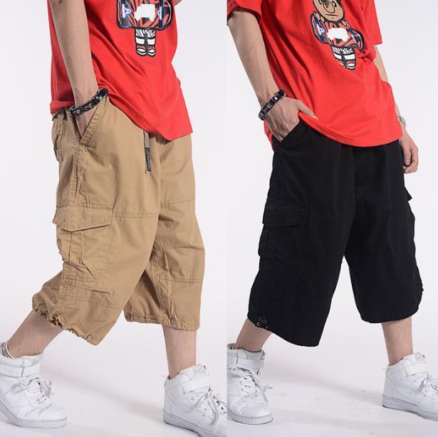 Plus Size Estate pantaloncini casuale uomini cotone Cargo Shorts con grande tasca allentata rigonfi Hip Hop Bermuda militare Abbigliamento maschile