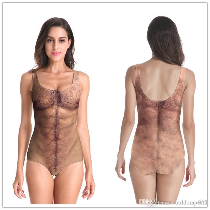 Spoofing Sexy Peito Cabelo Nake Impresso One Piece Bikini mulheres Swimsuit Backless Mulheres s engraçado Designer Swimwear Verão Maiô