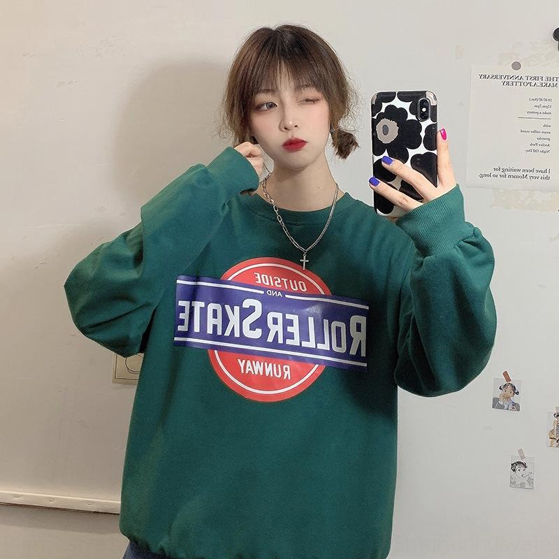 VJR1t nLht5 2020 Autunno Nuovo allievo stile rotondo di grandi dimensioni sciolti dimagrante collo coreano Top maglione superiore lettera di modo ins maglione delle donne prin