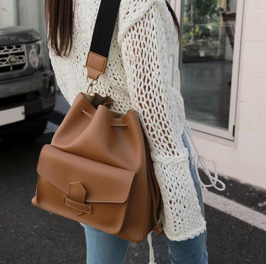 Vintage Women Wide Strap Shoulder Bags Designer Buckets Bag Luxury Pu Leather Crossbody Messenger Bag Large Totes Female Purses CX200818