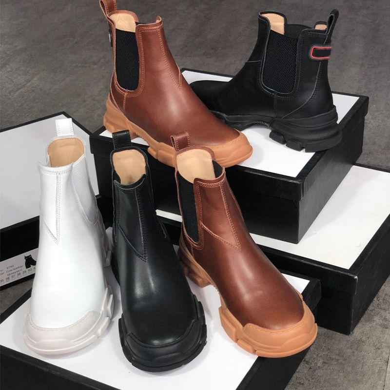 botas de cuero para hombre de León Diseñadores botines mujeres Martin Chelse suela de goma botas de Inserciones elásticas deslizan en los zapatos botines de invierno con caja