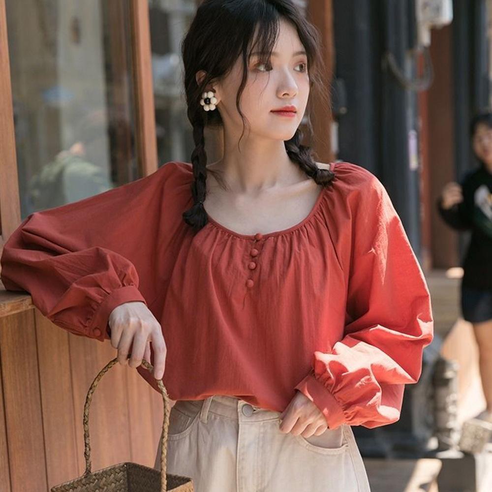 2020 été de style coréen nouveau doux frais couleur unie manches lanterne tout match lanterne chemise crème solaire chemise de femmes