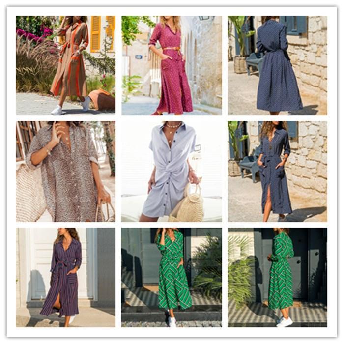 Womens righe Dolcevita shirt Summer Dress Designer Penelled Bow Vestiti manica corta femmine monopetto Clothse casual