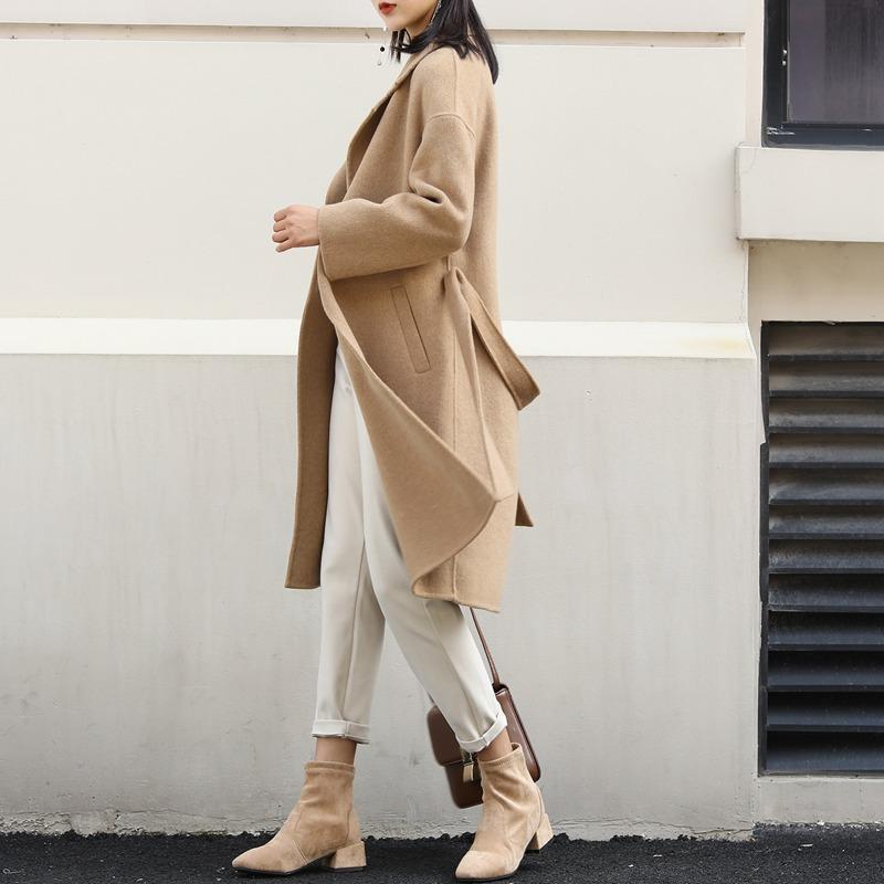 Весной 2020 года новый двухсторонний кашемир пальто женщина в длинном аль могучей популярной ткани пальто овец верблюжьей шерсти