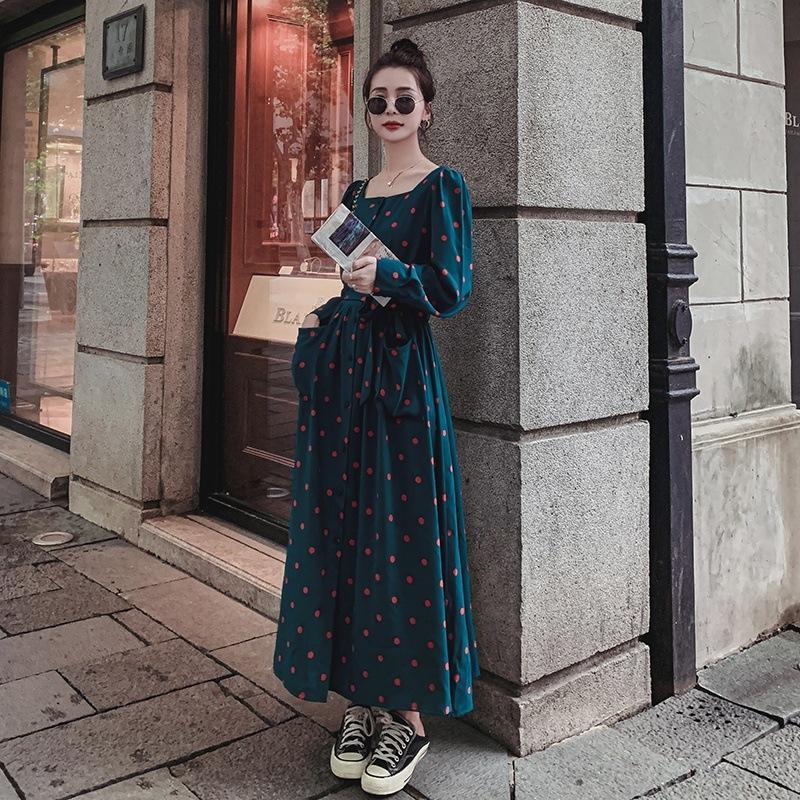 mln2I ta1JI verde do outono para as mulheres se vestem praça primavera e emagrecimento escuro forma camisa temperamento 2020 franceses polka dot colarinho vestido