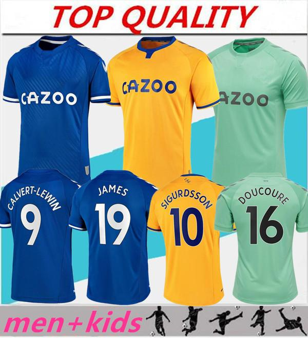 الرجال + الاطفال كيت قميص 2020 2021 الكوت ايفرتون المنزل بعيدا الزي 20/21 ايفرتون لكرة القدم الفانيلة JAMES RICHARLISON KEAN سيجوردسون لكرة القدم