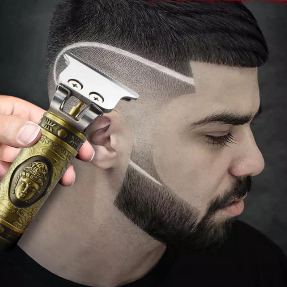 Yakın kesme Dijital Saç Kesme Şarjlı Saç Kesme Altın Barbershop Şarjlı 0mm T-bıçak Baldheaded Outliner Erkekler VS Kemei