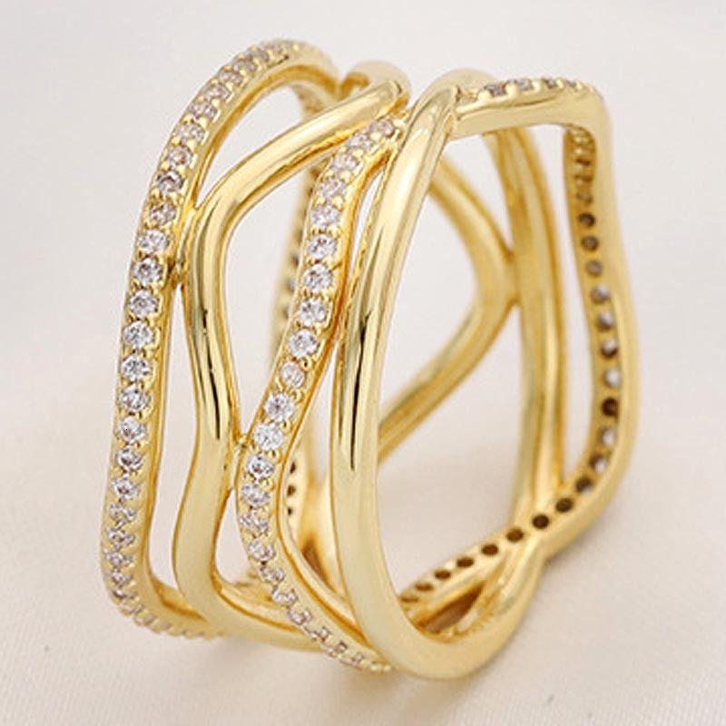 Orijinal 925 Gümüş Yüzük Altın Shine Dönen Hatları ile Kristal İçin Kadınlar Düğün Hediye Güzel Pandora Takı