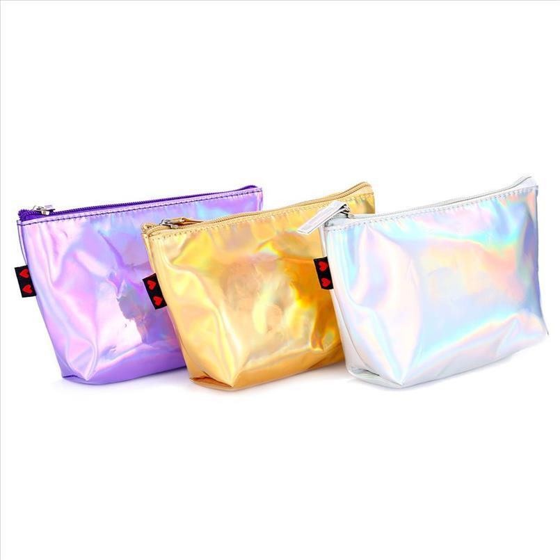 Borse PU Donne Moda trucco signore Cosmetic Bag femminili Borse Tote olografica laser borsa cerniera Custodia bagagli Laser