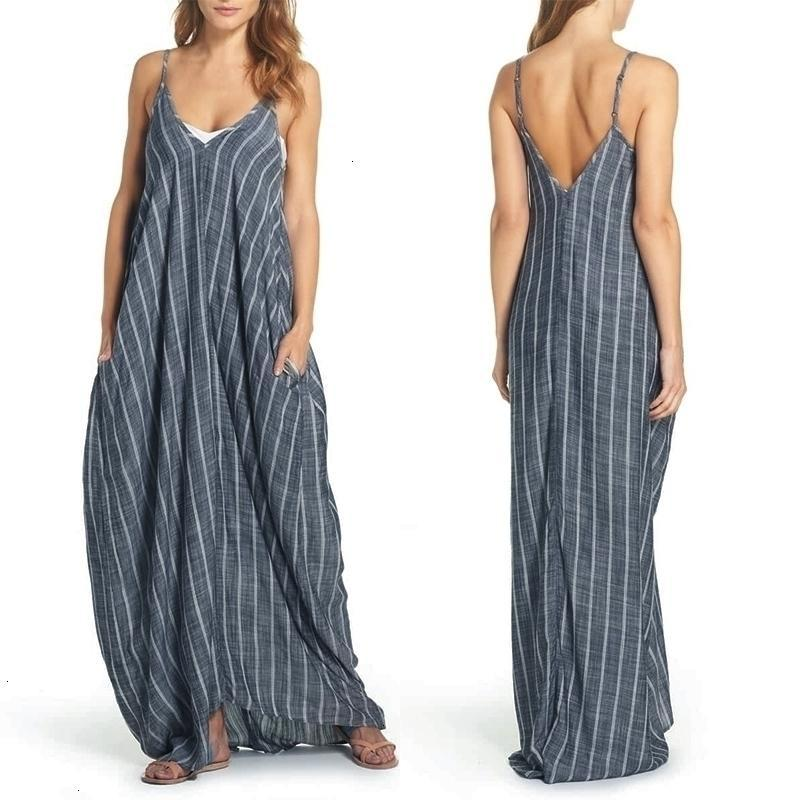 Artı boyutu Kadınlar Giyim Kadın Elbise Yaz Elbise 2019 Kadınlar Seksi V Yaka Maxi Elbiseler kabartılmış Kolsuz Çizgili Femme Artı boyutu 5XL