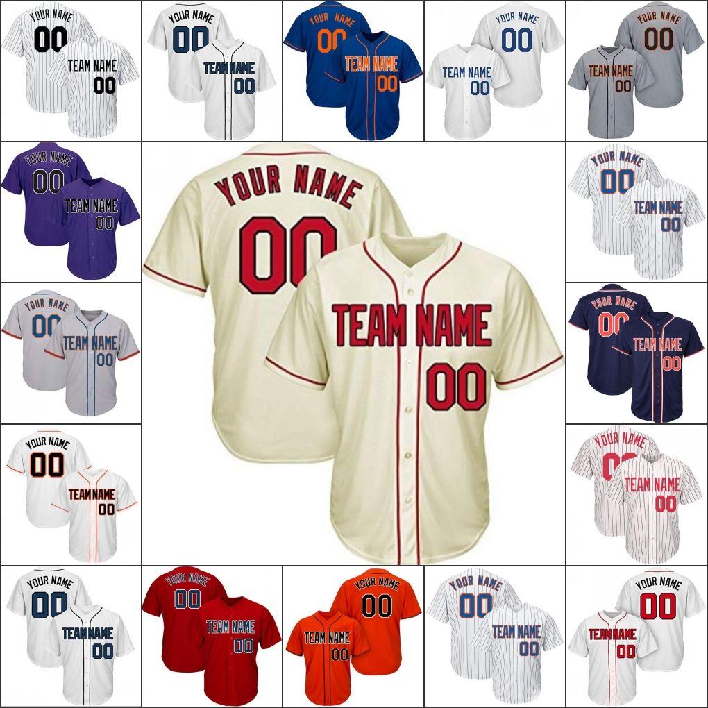 Equipo de mensaje de Jersey de béisbol personalizado Su número Número Mezcla Pedido Drop Logotipos Números de nombres están cosidos