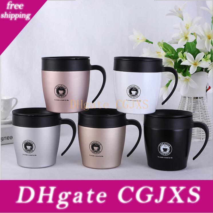 Isolé tasse de café avec poignée en acier inoxydable à isolation sous vide 12 onces tasse de café avec une cuillère Bureau tasse d'eau 330ml Ysy148