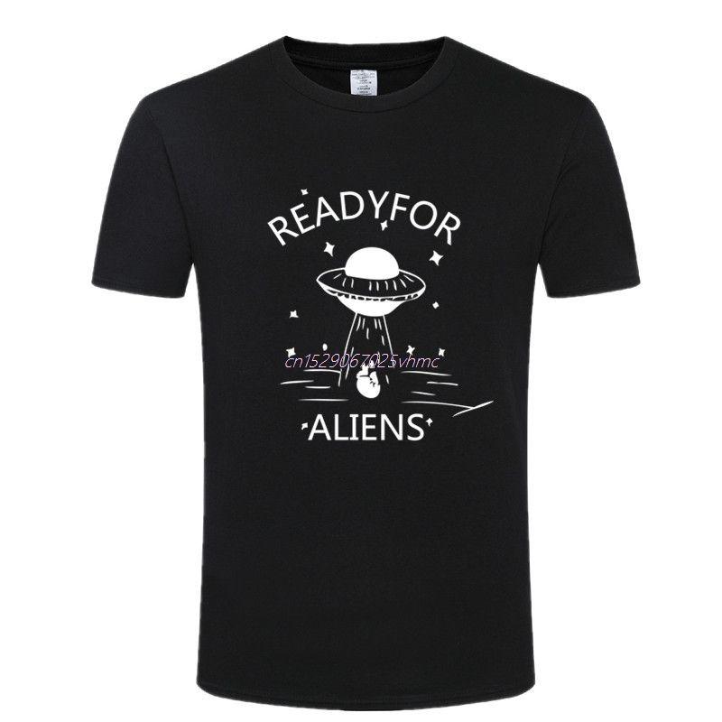 Yaz Alien T Shirt Erkekler Yaz Yenilikçi Baskı O-Yaka Kısa Kollu Tee% 100 UFO Tshirt Tops