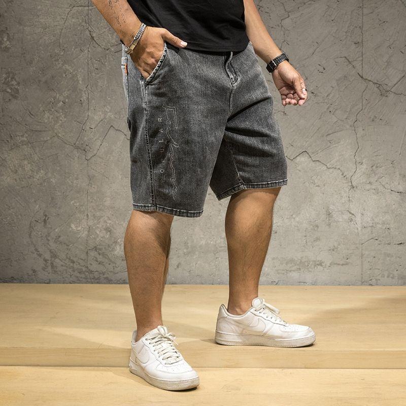 0B8wB Große Größe Denim knöchellangen Jeans und Jeans abgeschnitten Männer des Sommers neue feste Farbe Fett Bruder Denimhosen für Männer trendy beschnittene gewaschen