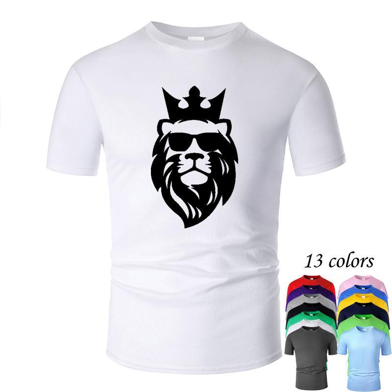 Raffreddare leone Linea Corona Art O del collo della maglietta del cotone degli uomini e la donna unisex manica corta estate Progettato Casual Tee m02047