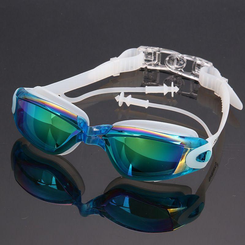 Kulak tıkacı Su geçirmez Silikon Profesyonel Anti-uv Anti-sis Yüksek çözünürlüklü Yüzme Gözlüklü Elektrolitik Gözlükler