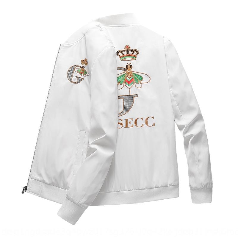 zEu5e 2020 autunno e l'inverno nuova giacca ricamata formato del collare basamento degli uomini del rivestimento di modo sottile giovani stile coreano ricamato casuale di grandi dimensioni