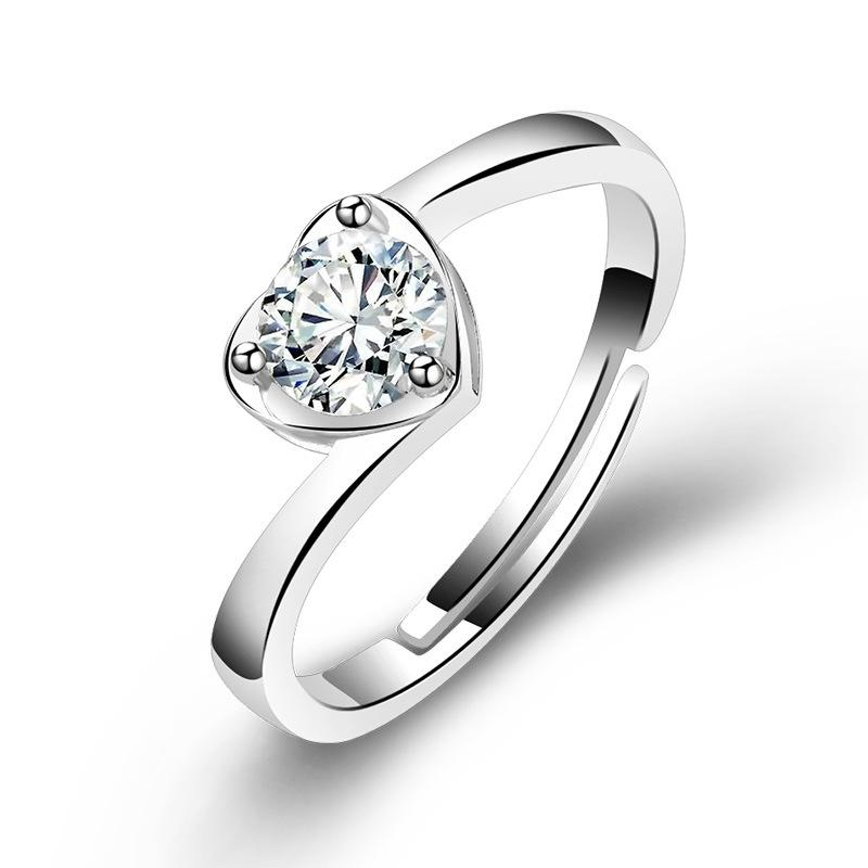 Classic Angel Kiss Heart Shaped Woman Shiny Zircon Engagement Ring Lovers Wedding Rings Ring Jewelry Boutique Jewelry