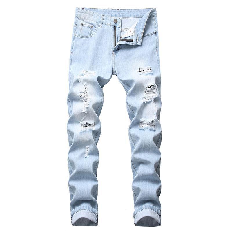 Lässige Jeans der neuen Männer Denim-Weinlese Ripped Distressed Jeans Blass Bleistifthosen elastische Weinlese mittlere Taillen-Qualitäts-freies Verschiffen