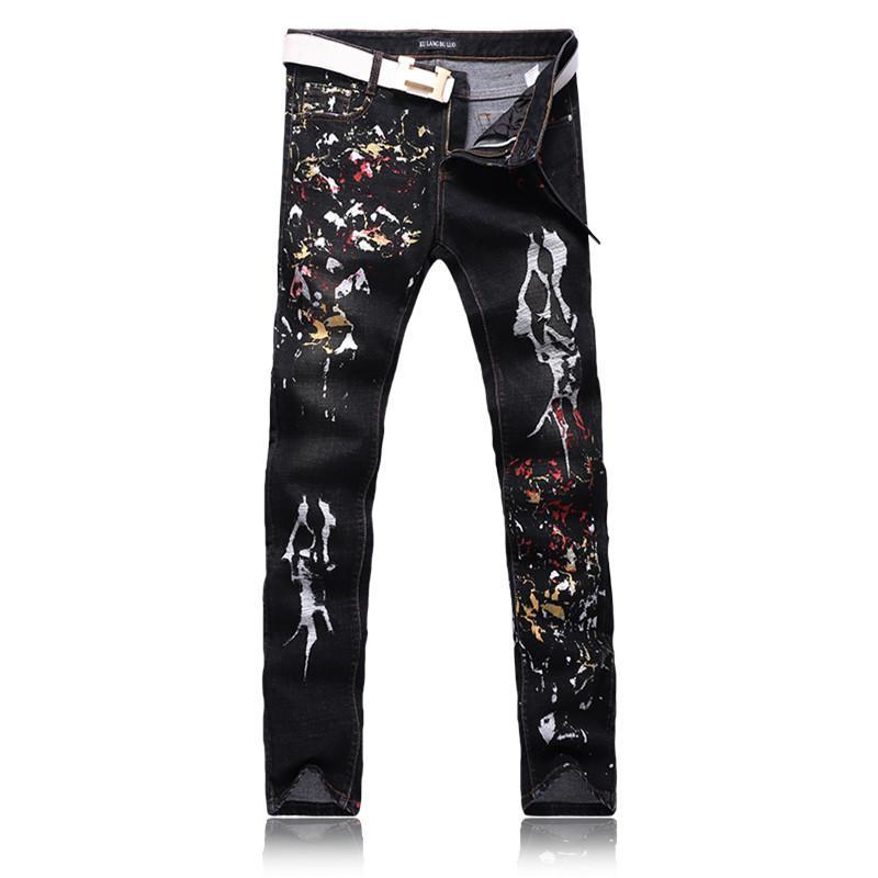 Moda Avrupa Stil Basılı Jeans Erkek Kot kot İnce Siyah Boyalı Kalem Pantolon Uzun Pantolon Sıkı Fit Günlük Desen Pantolon