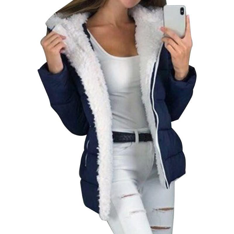 Ultra Light Plus Velvet en vrac avec capuche chaud coupe-vent uni à manches longues Zip épais manteau d'hiver Femmes Mode solide Casual